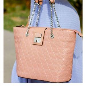 Guess handbag adjustable straps & quilted blush